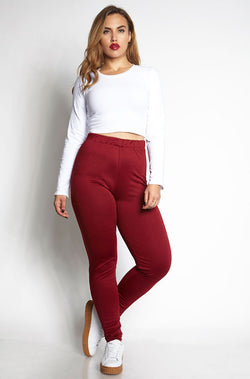 Burgundy Ponte Pants Plus Sizes