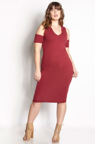 Rebdolls Essential Short Sleeve Scoop Neck Midi Dress - Burgundy