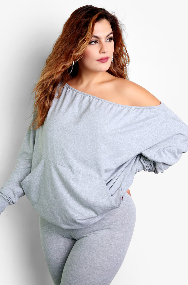 Gray Over The Shoulder Lounge Top & High Waisted Leggings Set Plus Sizes