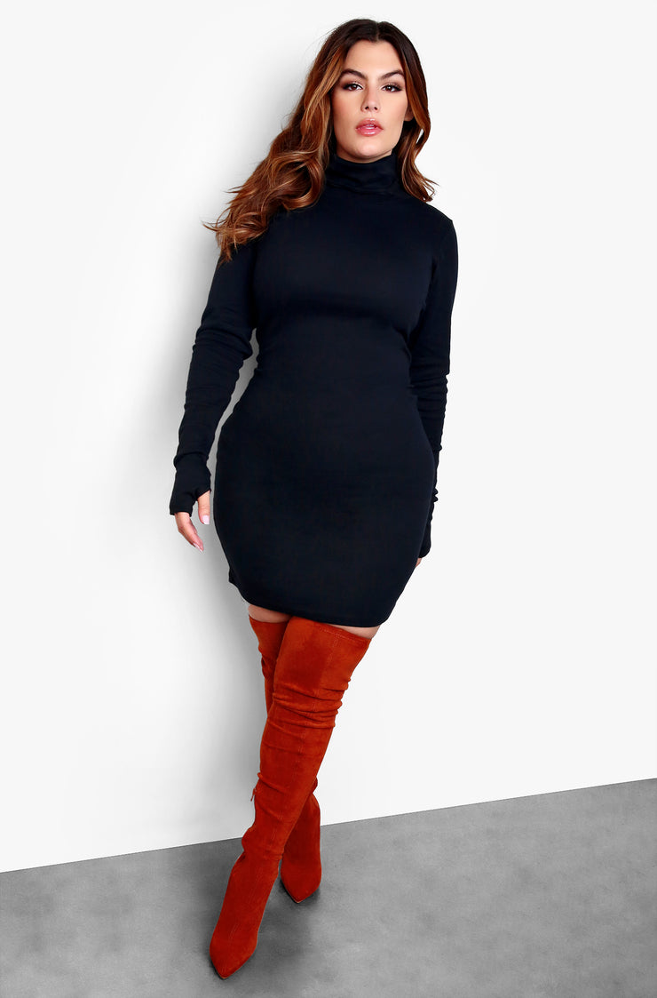 Black Plus Size Long Sleeve Mini Dress with Mask and Thumbholes Plus Sizes