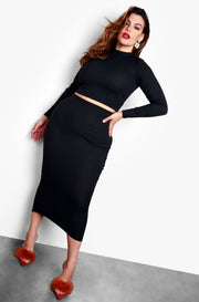 Black Crew Neck Crop Top & Midi Skirt Plus Size Set