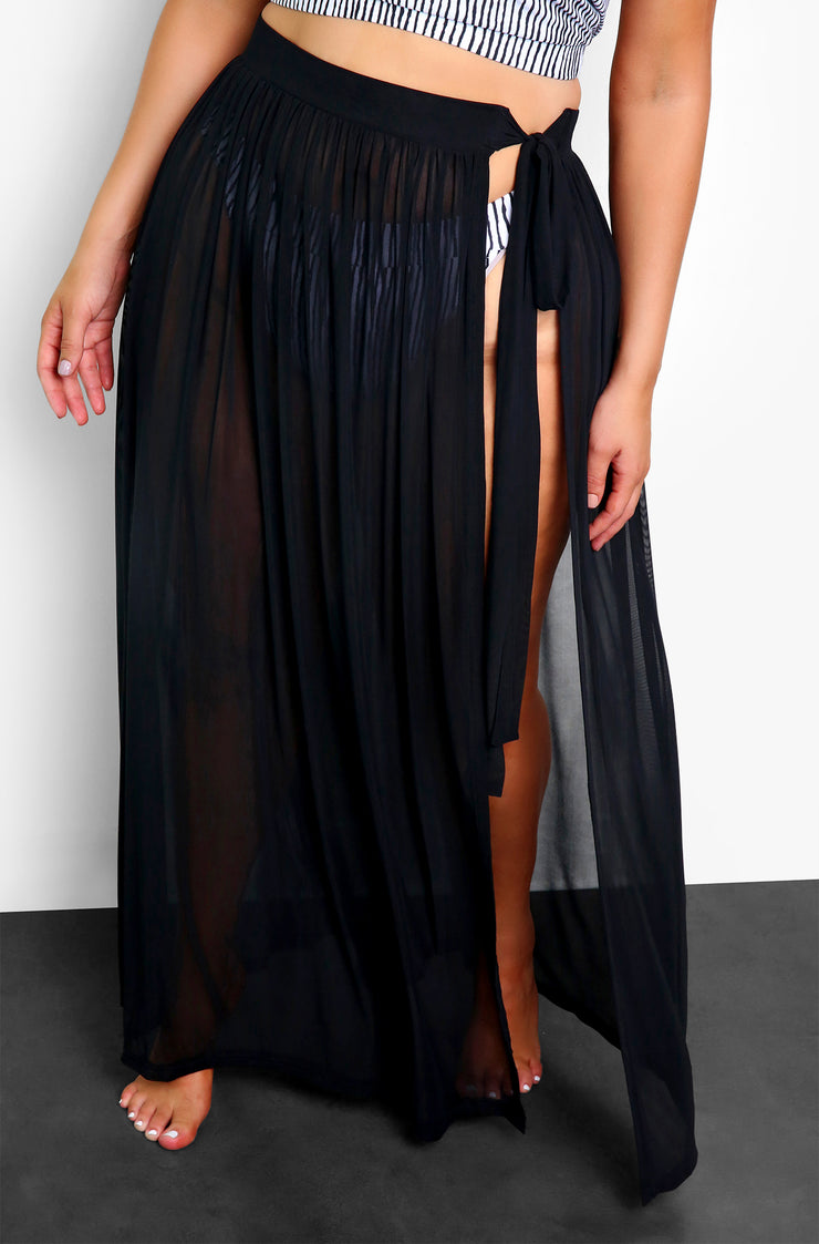 Black Mesh Cover Up Maxi Skirt Plus Sizes