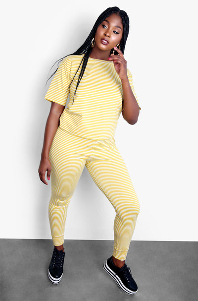 Mustard Striped Joggers Plus Sizes