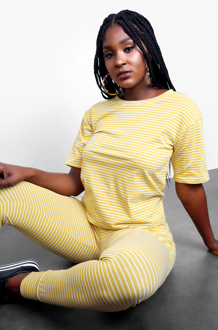 Mustard Striped Short Sleeve Top Plus Sizes