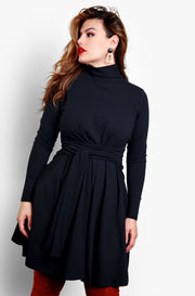 Black Turtleneck Long Sleeve Tie Front Skater Mini Dress Plus Sizes