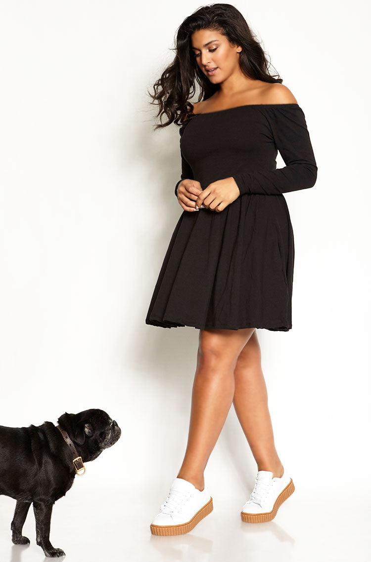 Black Over The Shoulder A- Line Mini Dress plus sizes