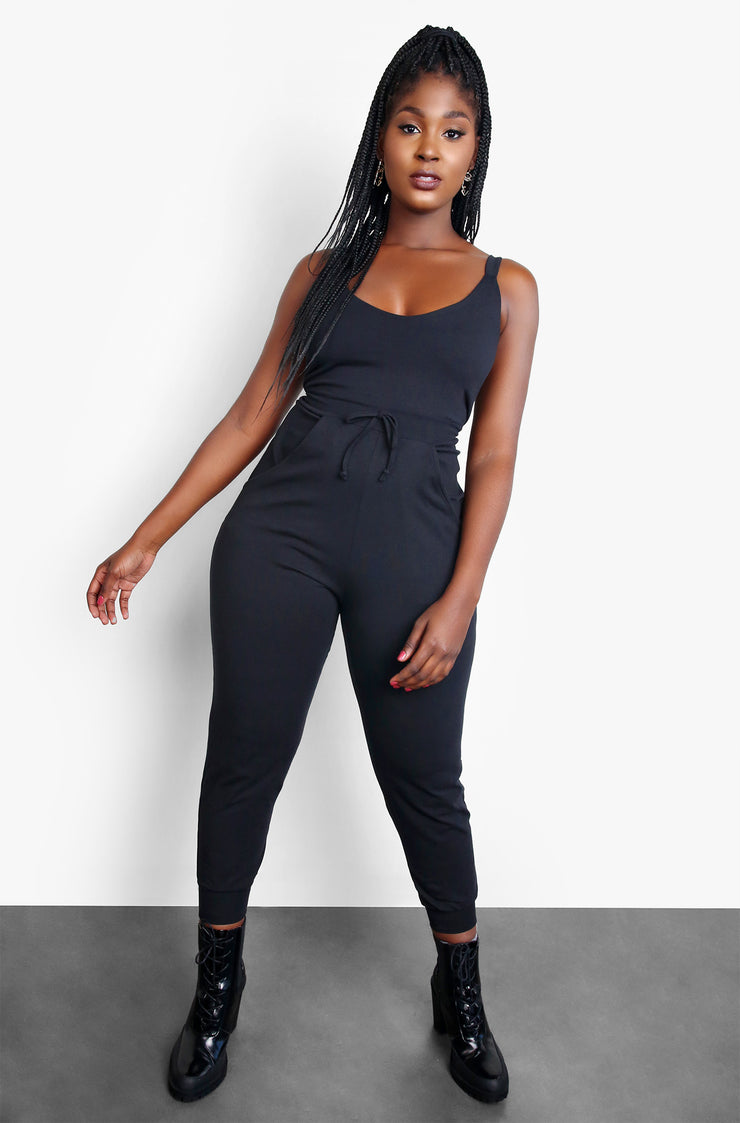 Black Lounge Tank Jumpsuit with Pockets Plus Sizes