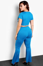 Dark Turquoise Flared Bottoms Plus Size