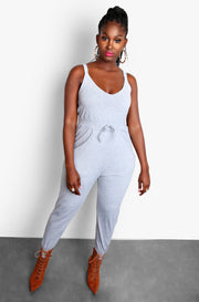 Gray Lounge Tank Jumpsuit with Pockets Plus Size Loungewear Set