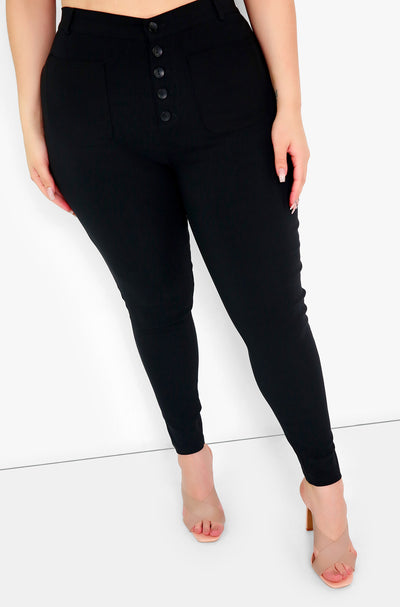 Black High Waist Cigarette Pants Plus Sizes
