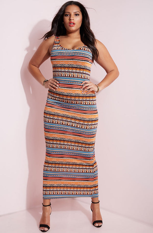 Orange Printed Maxi Dress plus sizes