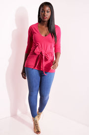 Fuchsia Waist Tie Detail Top plus sizes