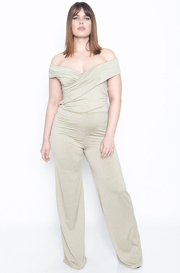 Gold Palazzo Jumpsuit plus sizes