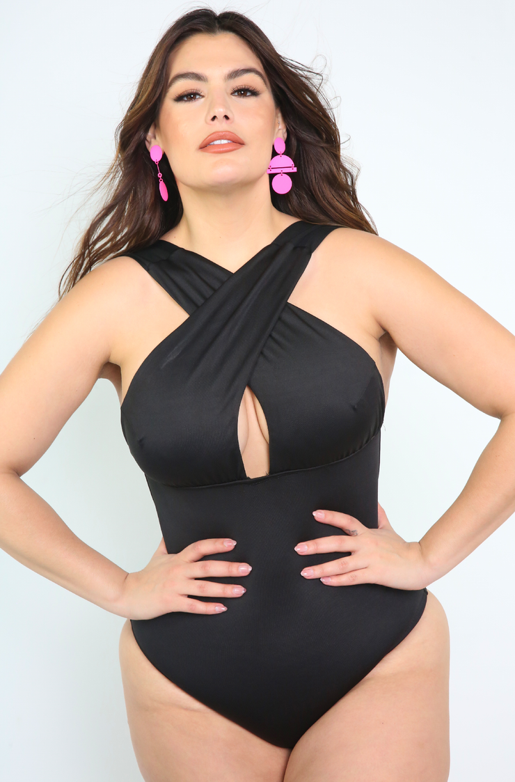 Black Crossover One Piece Swimsuit Plus Sizes
