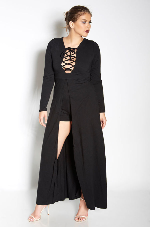 Black Caged Maxi Romper plus sizes