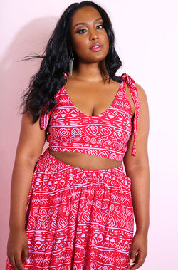Red Tie Crop Top & Skater Maxi Skirt Set plus sizes