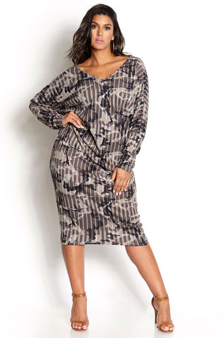 Rebdolls Essential 3/4 Sleeve V-Neck Midi Dress - White