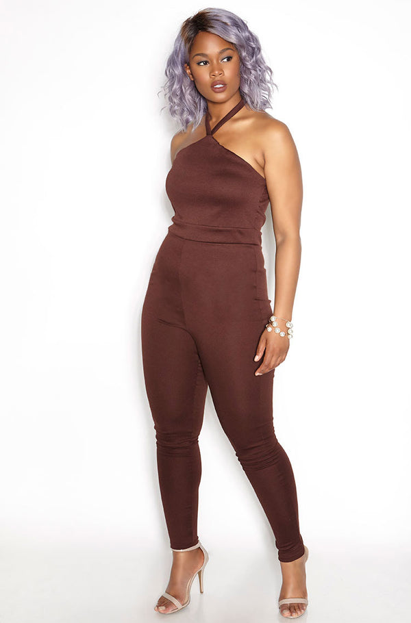 Brown Halter Ponte Jumpsuit plus sizes