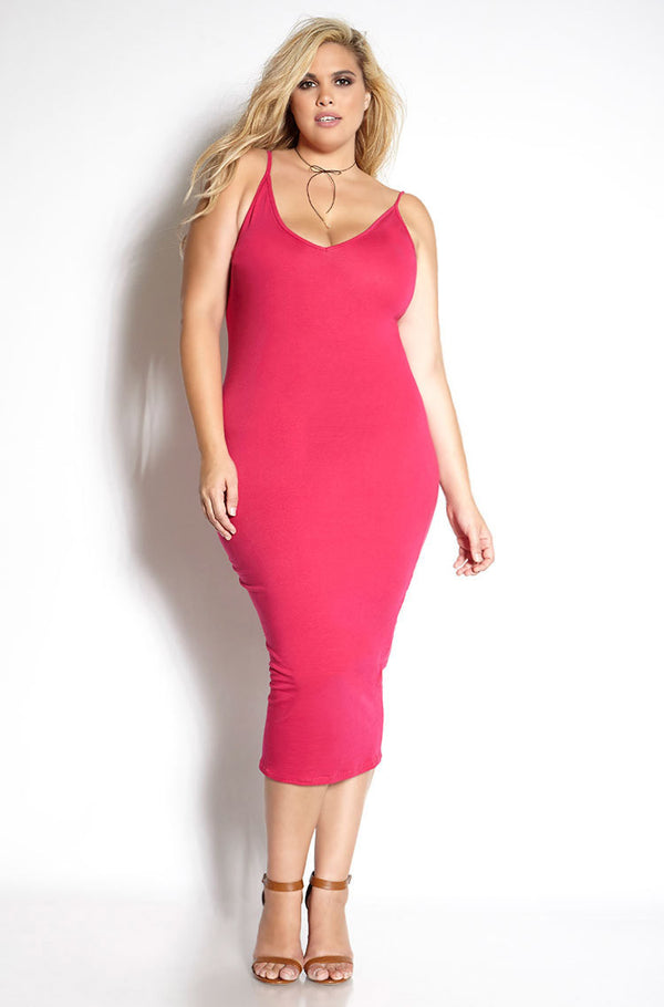 Fuchsia Strappy V-Neck Bodycon Midi Dress plus sizes