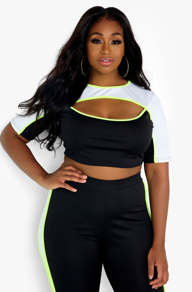 Black Cut Out Crop Top Plus Sizes