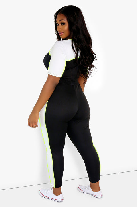 Black Two Color Leggings Plus Sizes