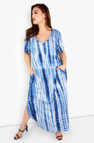 Blue Tie Dye Maxi Dress Plus Sizes