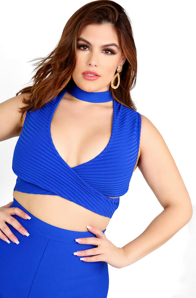 Royal Blue Cut Out Bandage Crop Top Plus Sizes