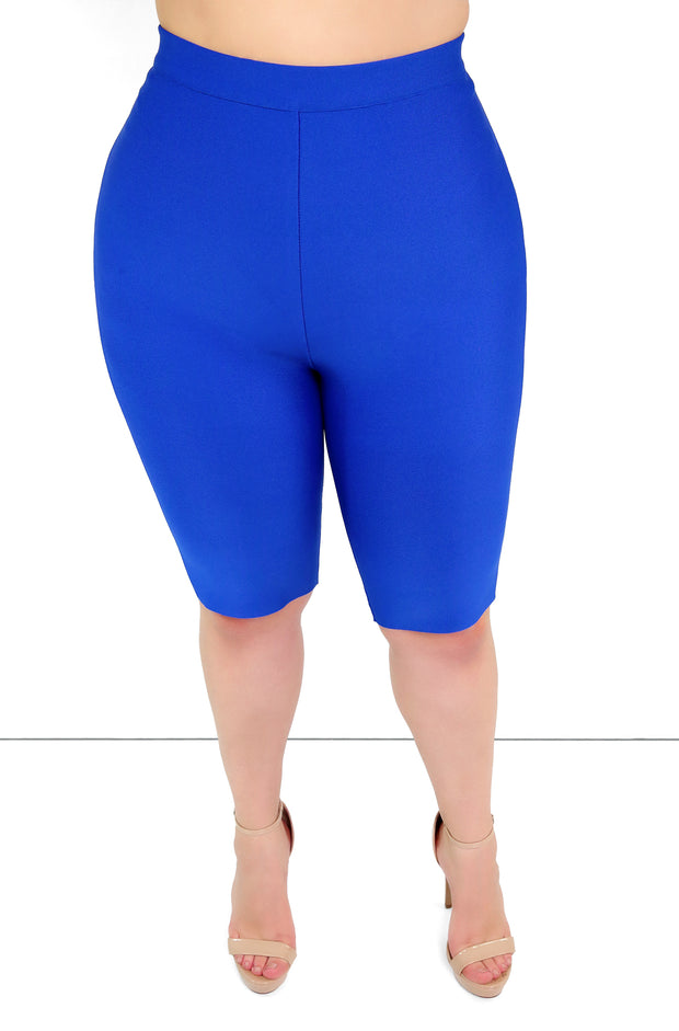 Royal Blue Bandage Cropped Leggings Plus Sizes
