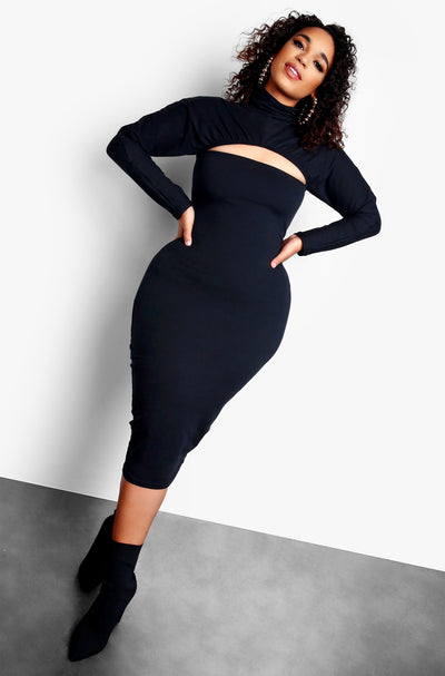 Black Cut Out Long Sleeve Turtleneck Midi Dress Plus Sizes
