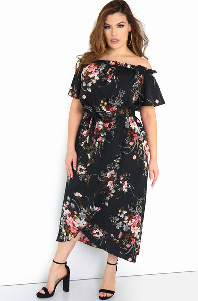 Black Floral Over The Shoulder Midi Dress Plus Size