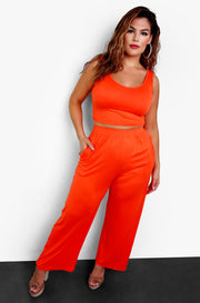 Fire Orange Tank Crop Top Plus Sizes