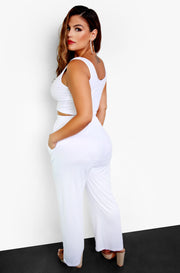 White Palazzo Pants with Pockets Plus Size