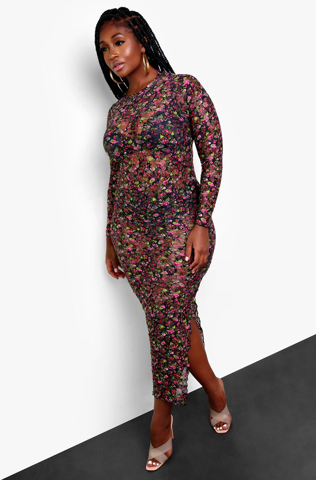 Black Floral Mesh Bodycon Maxi Dress Plus Sizes
