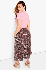 Brown Cropped Palazzo Pants Plus Sizes