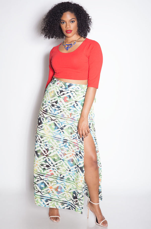 Green Graphic Chiffon Maxi Wrap Skirt Plus Sizes