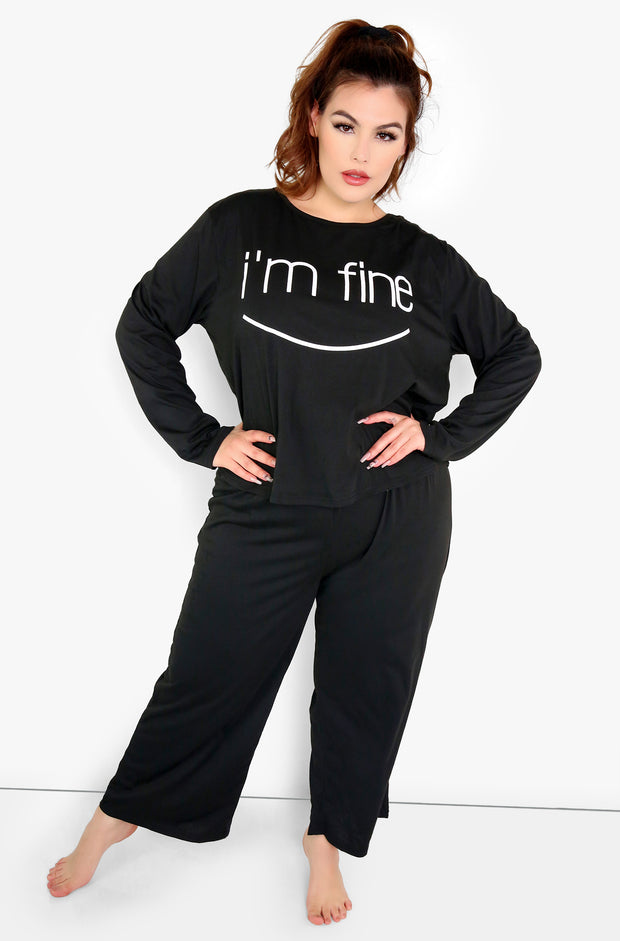 Black Pajama Set Plus Sizes
