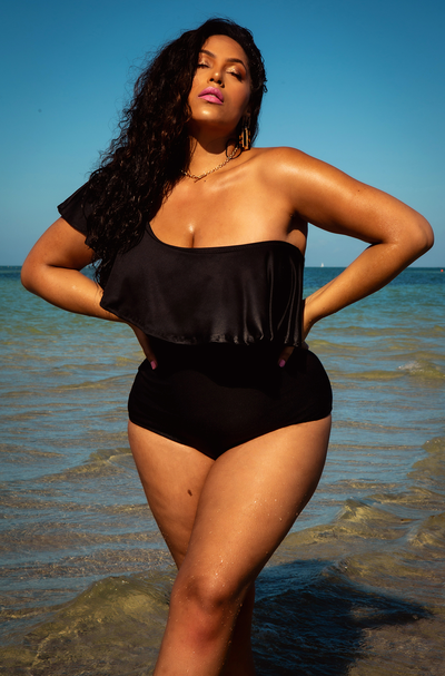 Black Ruffled One Shoulder Swimsuit Plus Sizes