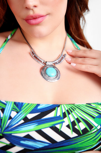 Silver Turquoise Stone Necklace