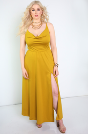 Mustard Cowl Neck Maxi Dress With Side Slit Plus Sizes