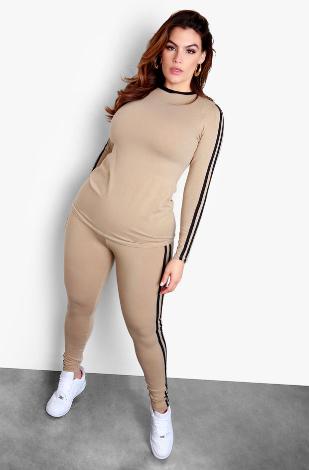 Nude Plus Size Striped Crewneck Long Sleeve Top & High waisted Legging Set