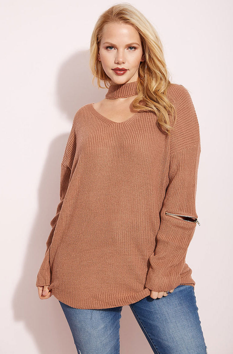 Mauve Zippered Sweater plus sizes