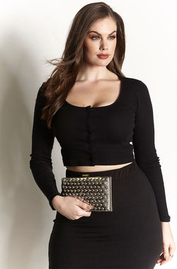 Silver Studded Clutch plus sizes