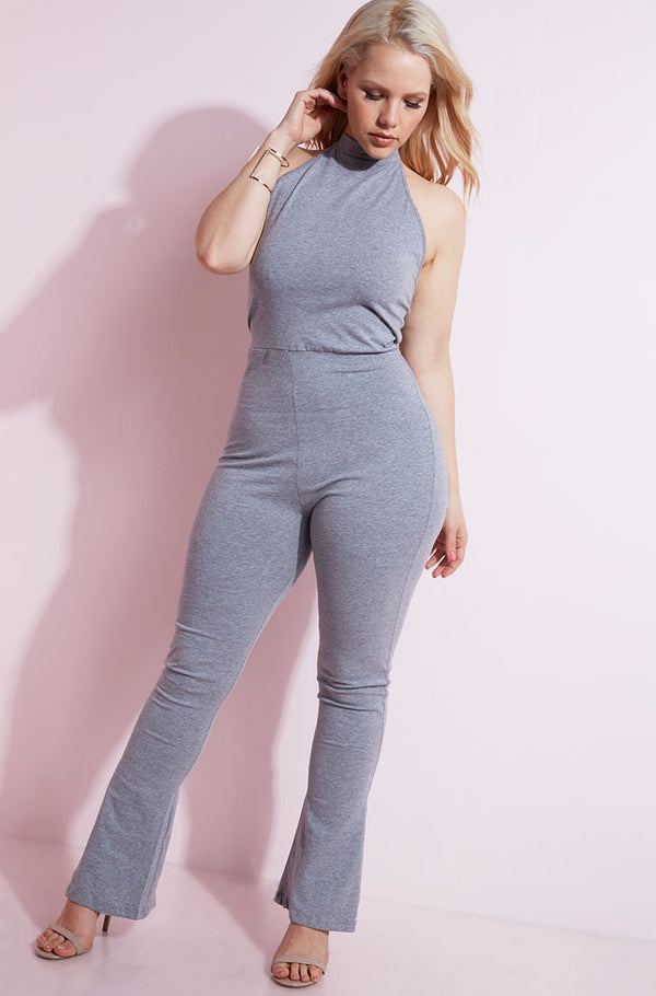 Gray Halter Bell Bottom Jumpsuit plus sizes