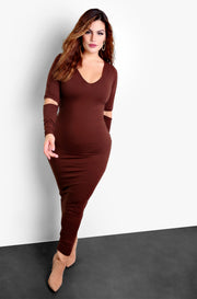 Brown Cut Out Long Sleeve Bodycon Maxi Dress Plus Sizes
