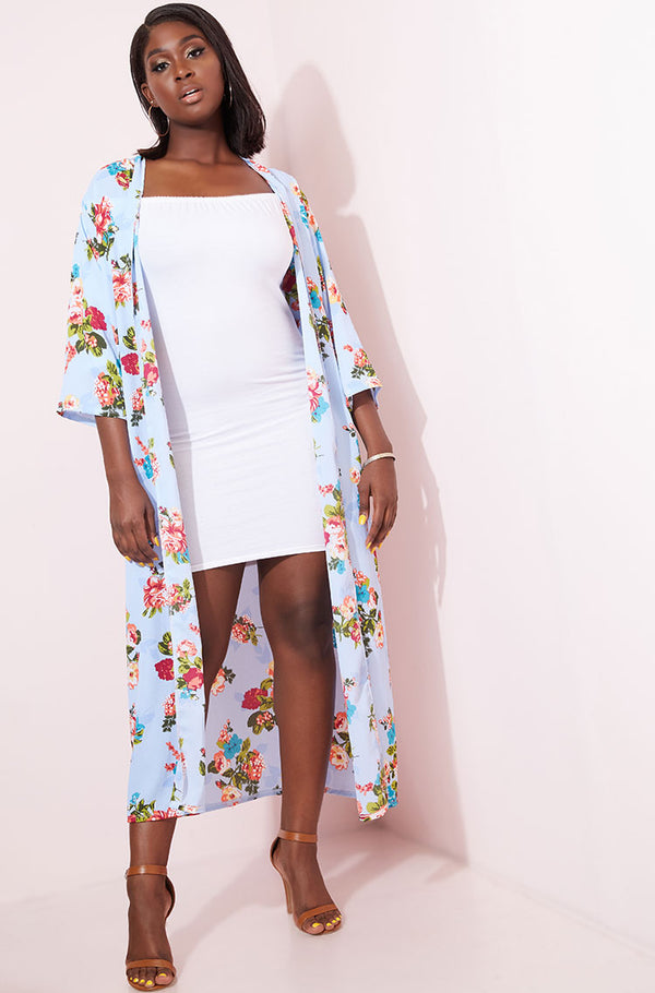 Light Blue Chiffon Kimono plus sizes