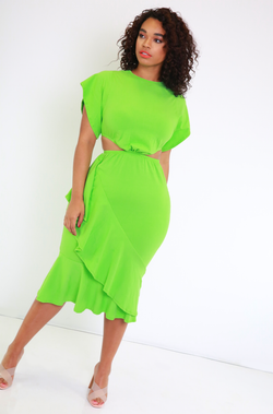 Lime Green Ruffled Cut-Out Midi Dress Plus Sizes
