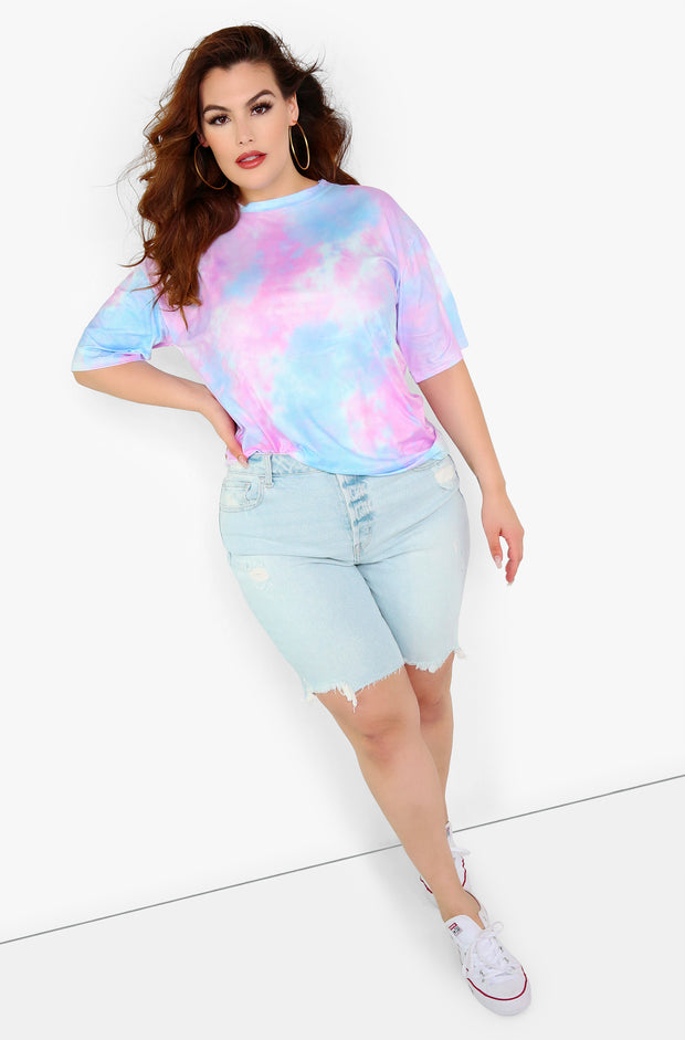 Light Blue Tie Dye Oversized Top Plus Sizes