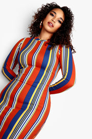 Blue Stripe Plus Size Crewneck Long Sleeve Midi Dress