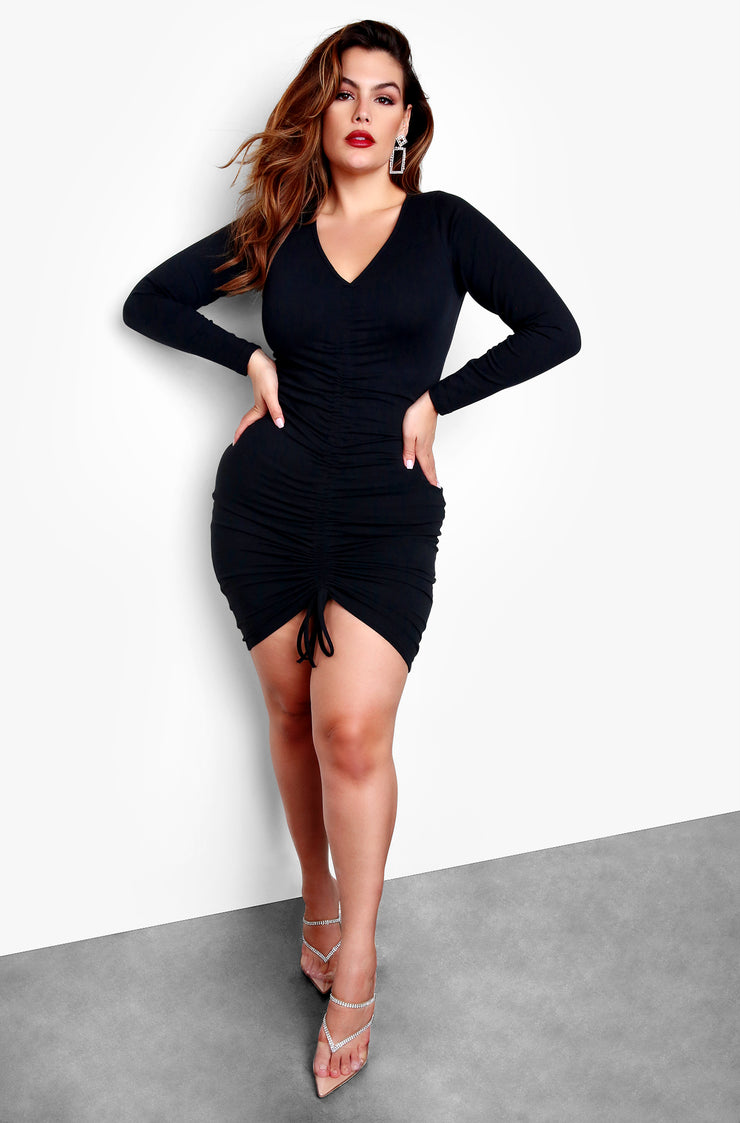 Black Plus Size Long Sleeve V-Neck Ruched Bodycon Mini Dress