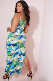Green Asymmetrical Bodycon Maxi Dress plus sizes
